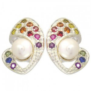 Rainbow Sapphire & Pearl Majestic Queens Earring 925 Sterling Silver (3/4ct tw) SKU: 1469-925