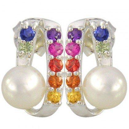Rainbow Sapphire & Pearl Fancy Earring 925 Sterling Silver (3/4ct tw) SKU: 1508-925