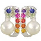 Rainbow Sapphire & Pearl Fancy Earring 925 Sterling Silver (3/4ct tw) SKU: 1508-925