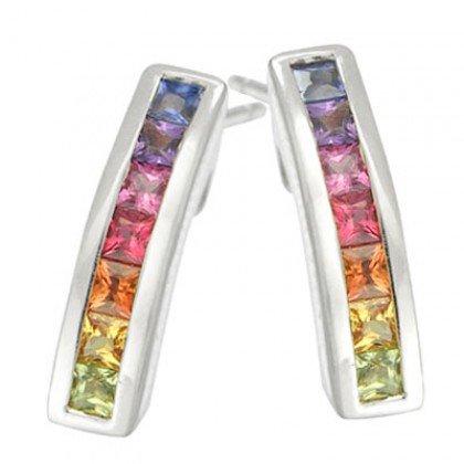 Rainbow Sapphire Earrings Hoop Huggie 18K White Gold (2.3ct tw) SKU: 889-18K-WG