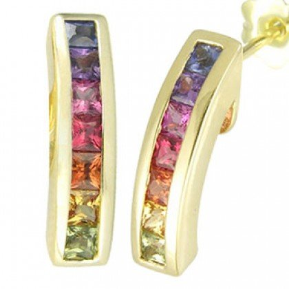 Rainbow Sapphire Earrings Hoop Huggie 18K Yellow Gold (2.3ct tw) SKU: 889-18K-YG