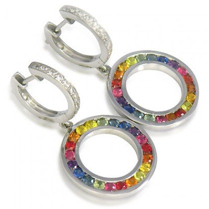 Rainbow Sapphire & Diamond Huggie Earrings 14K White Gold (2.5ct tw) SKU: 424-14K-WG
