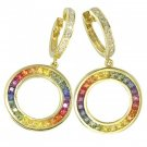 Rainbow Sapphire & Diamond Circle Huggie Earrings 14K YG (4.04ct tw) SKU: 1090-14K-YG