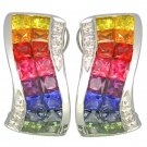 Rainbow Sapphire & Diamond Double Row Invisible Set Earrings 14K WG (4.13ct tw) SKU: 426-14K-WG