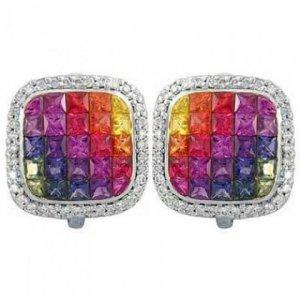 Rainbow Sapphire & Diamond Invisible Set Earrings 14K White Gold (4.5ct tw) SKU: 430-14K-WG