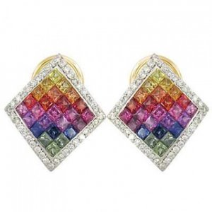 Rainbow Sapphire & Diamond Invisible Set Earrings 14K Yellow Gold (5.5ct tw) SKU: 428-14K-YG