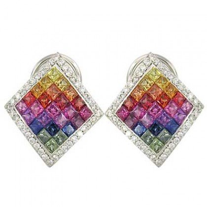 Rainbow Sapphire & Diamond Invisible Set Earrings 14K White Gold (5.5ct tw) SKU: 428-14K-WG