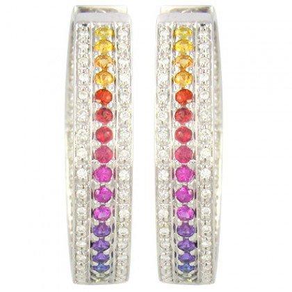 Rainbow Sapphire & Diamond Triple Row Earrings 18K White Gold (4.42ct tw) SKU: 1495-18K-WG