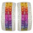 Rainbow Sapphire & Diamond Invisible Set Huggie Earrings 14K WG (8.75ct tw) SKU: 1534-14K-WG