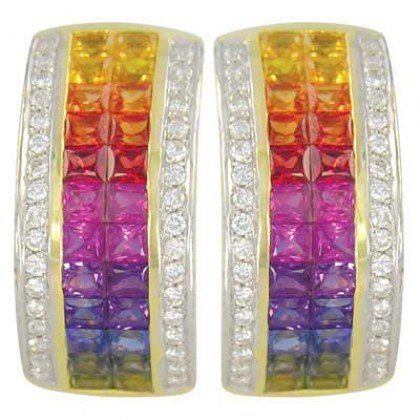 Rainbow Sapphire & Diamond Invisible Set Huggie Earrings 14K YG (8.75ct tw) SKU: 1534-14K-YG