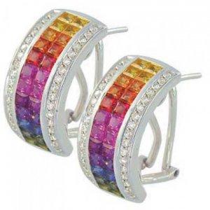 Rainbow Sapphire & Diamond Invisible Set Huggie Earrings 18K WG (8.75ct tw) SKU: 1534-18K-WG