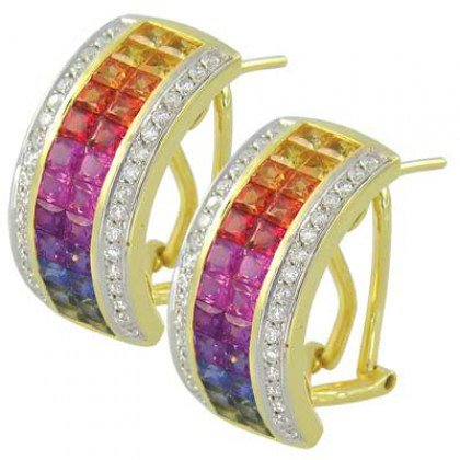 Rainbow Sapphire & Diamond Invisible Set Huggie Earrings 18K YG (8.75ct tw) SKU: 1534-18K-YG