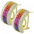 Rainbow Sapphire & Diamond Invisible Set Huggie Earrings 18K YG (8.75ct tw) SKU: 1534-18K-YG
