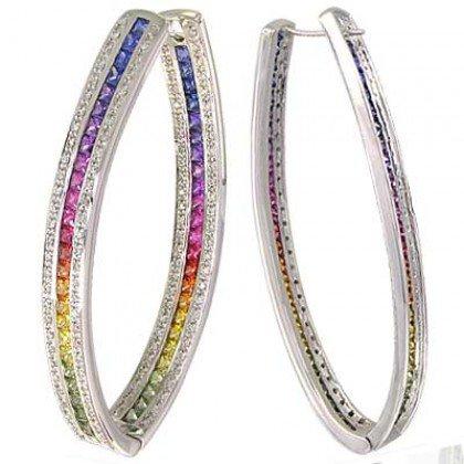 Rainbow Sapphire & Diamond Inside Out Hoop Earrings 18K White Gold (7.8ct tw) SKU: 1608-18K-WG
