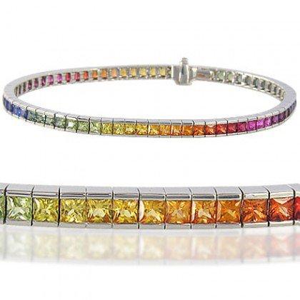 Rainbow Sapphire Tennis Bracelet 14K White Gold (12ct tw) SKU: 311-14K-WG