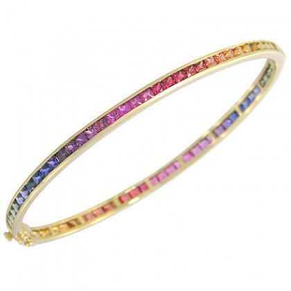 Rainbow Sapphire Eternity Oval Bangle 14K Yellow Gold (8ct tw) SKU: 1520-14K-YG