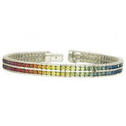 Rainbow Sapphire Double Row Tennis Bracelet 925 Sterling Silver (16ct tw) SKU: 903-925