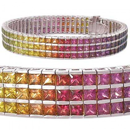 Rainbow Sapphire Tripple Row Channel Set Tennis Bracelet 14K White Gold (30ct tw) SKU: 1613-14K-WG