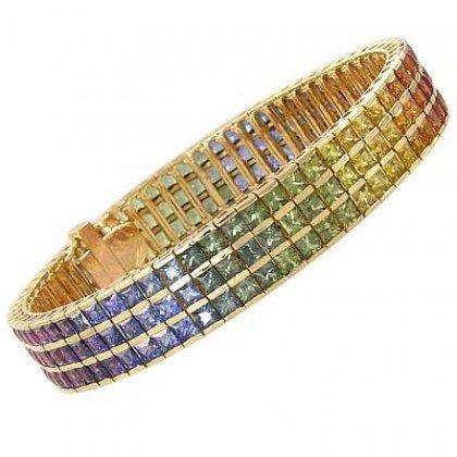 Rainbow Sapphire Tripple Row Channel Set Tennis Bracelet 18K Yellow Gold (30ct tw) SKU: 1613-18K-YG