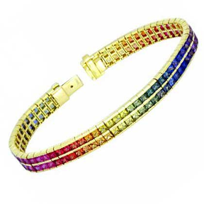 Rainbow Sapphire Double Row Tennis Bracelet 18K Yellow Gold (20ct tw) SKU: 439-18K-YG