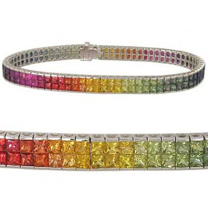 Rainbow Sapphire Double Row Invisible Set Tennis Bracelet 14K White Gold (20ct tw) SKU: 410-14K-WG