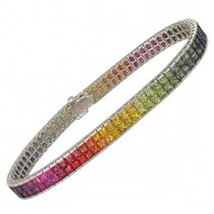 Rainbow Sapphire Double Row Invisible Set Tennis Bracelet 18K White Gold (20ct tw) SKU: 410-18K-WG