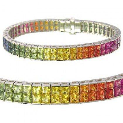 Rainbow Sapphire Double Row Invisible Set Tennis Bracelet 14K White Gold (25ct tw) SKU: 1567-14K-WG