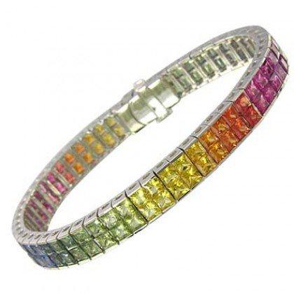 Rainbow Sapphire Double Row Invisible Set Tennis Bracelet 18K White Gold (25ct tw) SKU: 1567-18K-WG