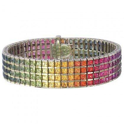 Rainbow Sapphire Channel Set 4 Row Tennis Bracelet 14K White Gold (40ct tw) SKU: 1572-14K-WG