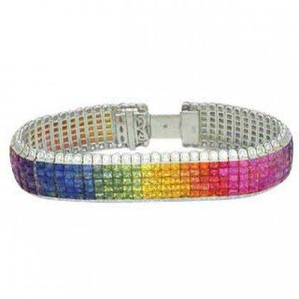 Rainbow Sapphire & Diamond Invisible Set 5 Row Tennis Bracelet 18K WG (66.32ctw) SKU: 467-18K-WG