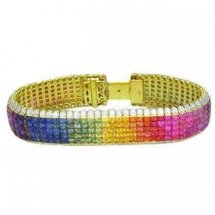 Rainbow Sapphire & Diamond Invisible Set 5 Row Tennis Bracelet 18K YG (66.32ctw) SKU: 467-18K-YG