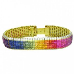Rainbow Sapphire & Diamond Invisible Set 5 Row Tennis Bracelet 18K YG (66.32ctw) SKU: 467-18K-YG