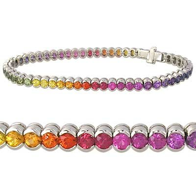 Rainbow Sapphire Bezel Set Tennis Bracelet 14K White Gold (14ct tw) SKU: 1571-14K-WG