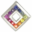 Rainbow Sapphire Small Square Pendant 925 Sterling Silver (3/4ct tw) SKU: 436-925