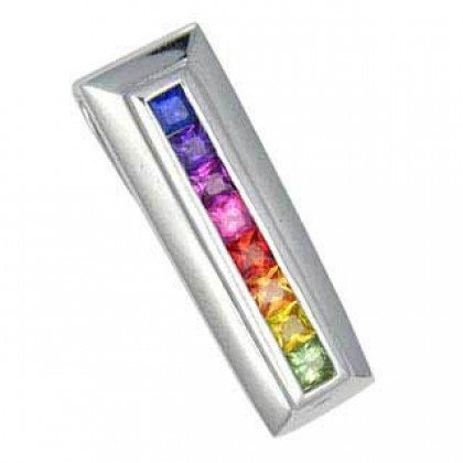Rainbow Sapphire Line Pendant 18K White Gold (1.2ct tw) SKU: 390-18K-WG