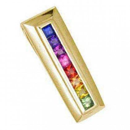 Rainbow Sapphire Line Pendant 18K Yellow Gold (1.2ct tw) SKU: 390-18K-YG