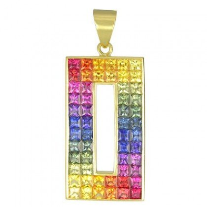 Rainbow Sapphire Invisible Set Rectangle Pendant 18K Yellow Gold (11ct tw) SKU: 1374-18K-YG