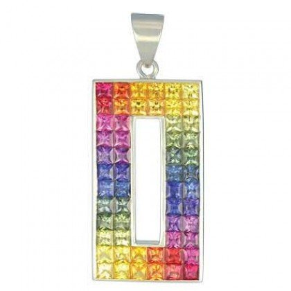 Rainbow Sapphire Invisible Set Rectangle Pendant 18K White Gold (11ct tw) SKU: 1374-18K-WG