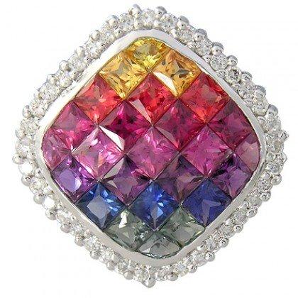 Rainbow Sapphire & Diamond Invisible Square Pendant 14K White Gold (2.92ct tw) SKU: 429-14K-WG