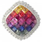 Rainbow Sapphire & Diamond Invisible Square Pendant 14K White Gold (2.92ct tw) SKU: 429-14K-WG