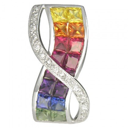 Rainbow Sapphire & Diamond Pendant Invisible Set Double Row 14K WG (3.1ct tw) SKU: 718-14K-YG