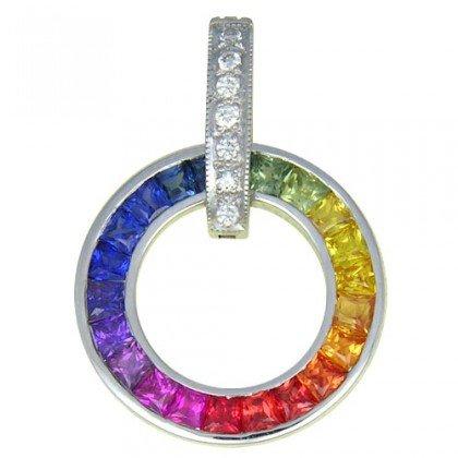 Rainbow Sapphire & Diamond Round Slide Pendant 14K White Gold (2.48ct tw) SKU: 432-14K-WG