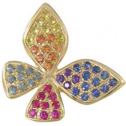 Rainbow Sapphire Stylish Butterfly Pendant 14K Yellow Gold (1.07ct tw) SKU: 1542-14K-YG