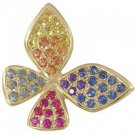 Rainbow Sapphire Stylish Butterfly Pendant 14K Yellow Gold (1.07ct tw) SKU: 1542-14K-YG
