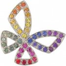 Rainbow Sapphire Classic Butterfly Pendant 14K White Gold (0.87ct tw) SKU: 1543-14K-WG