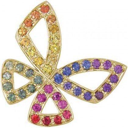 Rainbow Sapphire Classic Butterfly Pendant 14K Yellow Gold (0.87ct tw) SKU: 1543-14K-YG
