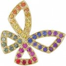 Rainbow Sapphire Classic Butterfly Pendant 14K Yellow Gold (0.87ct tw) SKU: 1543-14K-YG