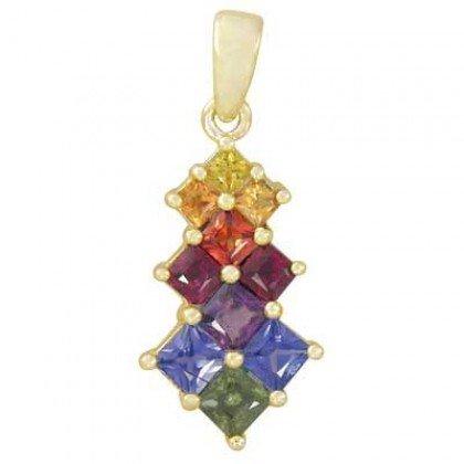 Rainbow Sapphire Princess Cut Journey Pendant 14K Yellow Gold (1.15ct tw) SKU: 1466-14K-YG