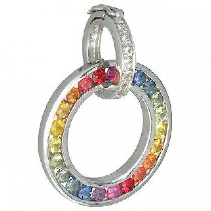Rainbow Sapphire & Diamond Round Pendant 925 Sterling Silver (1.57ct tw) SKU: 938-925