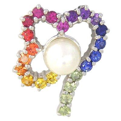 Rainbow Sapphire & Pearl Heart Shape Pendant 14K White Gold (3/4ct tw) SKU: 1510-14K-WG